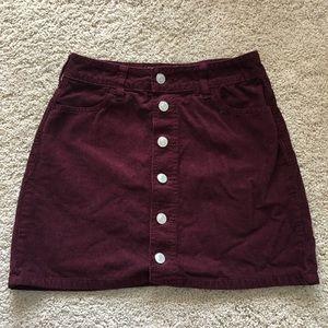 Corduroy button up skirt